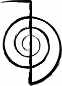 image of cho-cho  - Brushed artwork of the Power Symbol Cho Ku Rei for the Japanese healing system reiki - JPG
