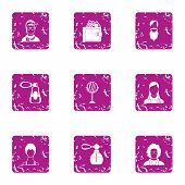 Fragrance Icons Set. Grunge Set Of 9 Fragrance Vector Icons For Web Isolated On White Background poster