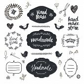 Vector Set Of Hand Drawn Doodle Frames, Badges. Handmade, Workshop, Hand Made Shop Graphic Design Se poster