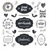 Vector Set Of Hand Drawn Doodle Frames, Badges. Handmade, Workshop, Hand Made Shop Graphic Design Se poster