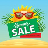 Summer Sale, Special Discount Poster Design With Cartoon Sun In Sunglasses, Palm Leaves And Sand Dun poster