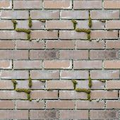 Abstract Seamless Pattern For Designers With Masonry From Stone Block Bricks And Green Moss poster