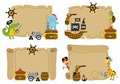 Set Of Isolated Treasure  Cards With Animal Pirates  - Vector Illustration, Eps poster