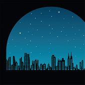 picture of new york night  - vector illustration of the cityscape of New York - JPG