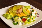 Tuna Fish With Guacamole And Vegetables poster