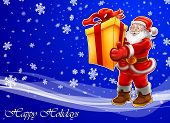 foto of santa-claus  - Christmas card Santa Clause with big present blue background with snowflakes - JPG
