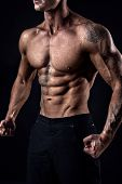 Unrecognizable Strong Bodybuilder With Six Pack. Bodybuilder Man With Perfect Abs, Shoulders, Biceps poster