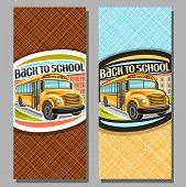 Vector Vertical Banners For School Bus, Orange Schoolbus With Open Door Awaiting Junior Student, Log poster