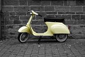 picture of vespa  - Old yellow italien vespa scooter - JPG
