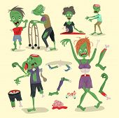 Colorful Zombie Scary Cartoon Elements Halloween Magic People Body Fun Group Cute Green Character Pa poster
