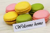 Welcome Home Card With Colorful Sweet Macaroons poster