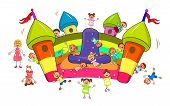 Happy Children Play And Jump On The Inflatable Slide. Joyful Little Children And A Teacher.  Cartoon poster