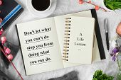 Motivational And Inspirational Quote. Self Help Quote. Notebook With Pen On Cozy White Tablecloth Wi poster