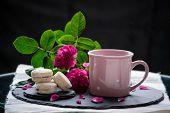 Homemade Vanilla Jam Sandwich Cookies Vanilice Sweets Dessert With Coffee Steam poster