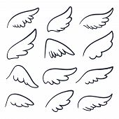 Cartoon Angel Wings. Winged Doodle Sketch Icons. Angels And Bird Vector Symbols Isolated. Wing Sketc poster