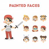 Children With Colors Painting Face For Holiday. Boy As Pirate. poster