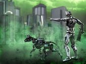 3d Rendering Of A Futuristic Mech Soldier Holding A Rifle And Pointing With A Dog Beside Him In A Po poster
