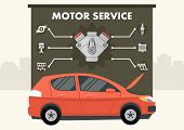 Red Car With Infographics Of Motor Service Vector Illustration. Details Of Engine Icons. Clipart. Fl poster