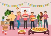 Cartoon Group Of Cheerful People Eating Pizza At Birthday Party. Celebration. Vector Illustration. C poster