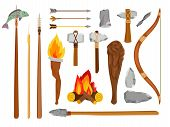 Cartoon Stone Age Tools. Primitive Caveman Elements Isolated On White Background, Prehistoric Savage poster