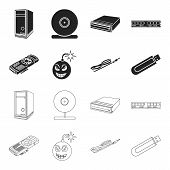 Video Card, Virus, Flash Drive, Cable. Personal Computer Set Collection Icons In Black, Outline Styl poster