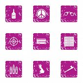 Peaceful Solution Icons Set. Grunge Set Of 9 Peaceful Solution Vector Icons For Web Isolated On Whit poster