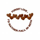 Vector Chocolate Slogan. Typographic Element With Heart Shaped Chocolate With Letters. Word Chocolat poster