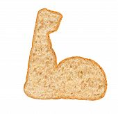 Whole Wheat Bread Strong Icon On White Background, Diet And Strong Concept poster
