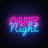 Quiz Night Announcement Poster Vector Design Template. Quiz Night Neon Signboard, Light Banner. Pub  poster