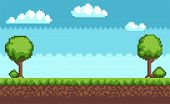 Tree And Bush Pixel Style Vector Illustration Landscape With Sky Grass And Ground. Green Plants For  poster