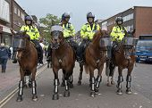Police On Horseback During The Operation By Devon And Cornwall Police To Prevent Football Violence A