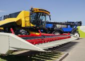 Harvester With Reaper For Harvesting Cereals, Machine For Harvesting Agricultural Products, Close-up poster