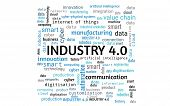 Industry 4.0 Concept As Word Collage Or Word Cloud, Rectangle, Words In Blue, Gray, Black poster