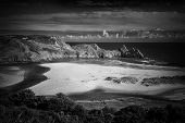 Three Cliffs Bay On The Gower Peninsular, West Glamorgan, Wales, Uk, Which Is A Popular Welsh Coastl poster