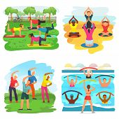 Workout Exercise Vector Active People Exercising With Trainer In Sportive Group In Park Illustration poster