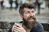 Hipster With Long Beard Looks Cheerful. Bearded Hipster Holds Beer Mug, Drinks Beer Outdoor. Man Wit poster
