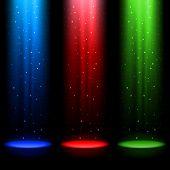 Drie RGB schachten van licht