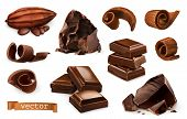 Chocolate. Pieces, Shavings, Cocoa Fruit. 3d Realistic Vector Icon Set poster