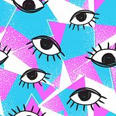 Vector Retro Style Futuristic Seamless Pattern. Vintage Colorful Background. All Seeing Eye Symbol.  poster