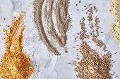 Assortment Of Ground Powder Spices On White Background, Top-view, Close-up, Macro, Shallow Depth Of  poster