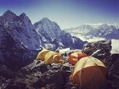 Camping Near North Annapurna Base Camp Overlooking Annapurna Glacier. Outdoor Camping Scenery With S poster