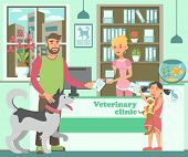 Cartoon Bearded Man With Husky And Girl With Cat At Reception In Veterinary Clinic. Pet Owners Broug poster