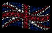 Waving British State Flag On A Black Background. Vector Galaxy Items Are Placed Into Geometric Uk Fl poster