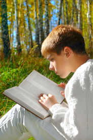 image of teenage boys  - reading boy sit in autumn forest with a book - JPG