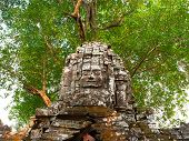 Stone Rock Architecture Ruin At Ta Som Temple In Angkor Wat Complex, Siem Reap Cambodia. poster