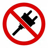 No Electric Plug Vector Icon. Flat No Electric Plug Symbol Is Isolated On A White Background. poster