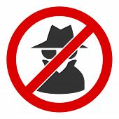 No Spy Vector Icon. Flat No Spy Symbol Is Isolated On A White Background. poster