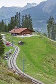 Idyllic Landscape. Railway Track And House In Swiss poster