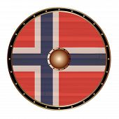 A Viking Round Shield With The Norwegian Flag Color Design Isolated On A White Background poster