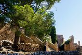 View Of Santuari Del Puig De Maria Surrounded By Rich Foliage, Mallorca, Spain 2018. Sightseeing & N poster